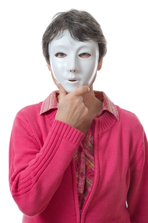 lady hiding her face behind a mask on white background photo
