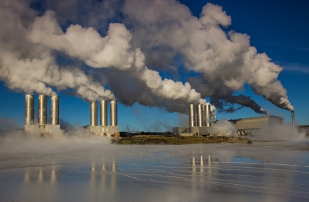 hot water geothermal: Geothermal power plant located at Reykjanes peninsula in Iceland
