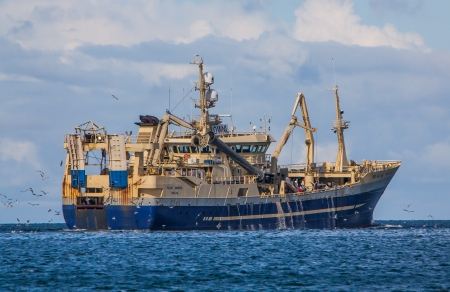 trawler: Offshore commercial pelagic fishing vessel from Greenland in Icelandic waters