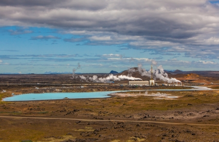 recycle area: Geothermal power plant located at Reykjanes peninsula in Iceland