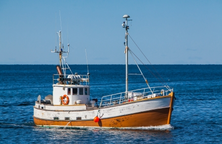 Old Icelandic commercial fishing boat made of oak  Stock Photo