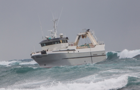 icelandic: Icelandic offshore commercial stern trawler in heavy sea off the coast of Iceland Stock Photo