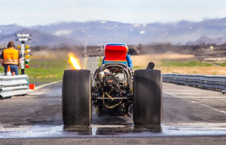 Iceland - July 28, 2012   Rear engine dragster at drag racing event in Iceland