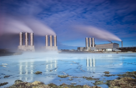 Geothermal power station located at Reykjanes peninsula, Iceland