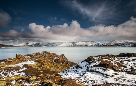 iceland: Lake Kleifarvatn in Iceland during winter time  Stock Photo