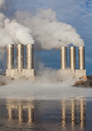 Geothermal power station located at Reykjanes peninsula, Iceland photo