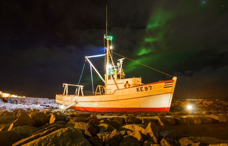 Old Icelandic trawler on display near Grofin marina in Keflavik, Iceland