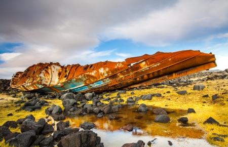 grindavik: Shipwreck located at Reykjanes peninsula, Iceland