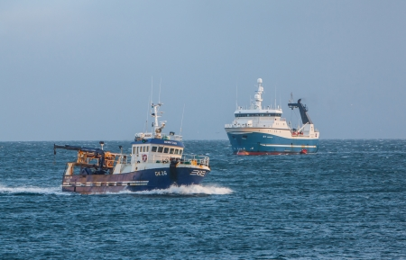 grindavik: Iceland - November 15, 2012   Icelandic trawlers in Icelandic waters  Editorial