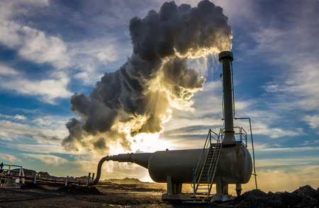 Geothermische boorgat gelegen op Reykjanes schiereiland, IJsland Stockfoto