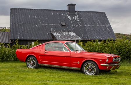 Reykjavik, Iceland - July 6, 2014   1965 Ford Mustang Fastback at classic car show at Reykjavik city museum