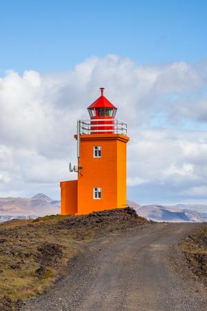 grindavik: H?psnesviti lighthouse, located near the fishing town Grindavik at Reykjanes peninsula, Iceland