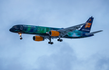 hekla: Iceland - December 11, 2014 Boeing 757-200 Hekla Aurora from Icelandair approaches KEF Airport in Iceland Editorial