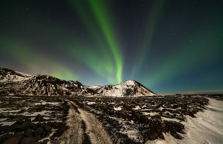 magnetosphere: Image of the northern lights seen from Reykjanes peninsula in Iceland. Stock Photo