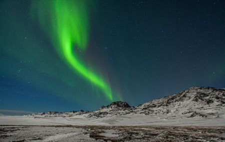 ionosphere: Image of the northern lights seen from Reykjanes peninsula in Iceland. Stock Photo