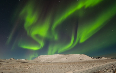 Image of the northern lights seen from Reykjanes peninsula in Iceland. Stock Photo