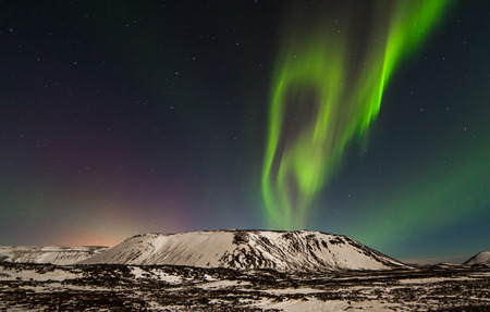 magnetosphere: Aurora boreale visto da Reykjanes penisola in Islanda