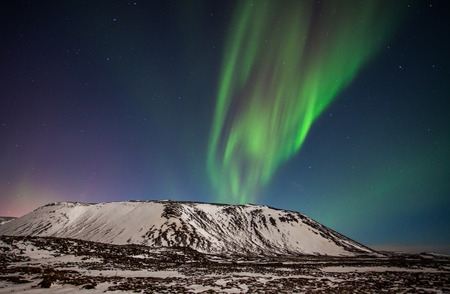 magnetosphere: Northern lights seen from Reykjanes peninsula in Iceland