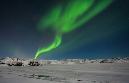 ionosphere: Northern lights seen from Reykjanes peninsula in Iceland