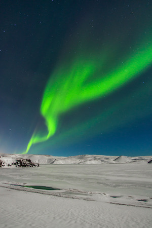 Northern lights seen from Reykjanes peninsula in Iceland