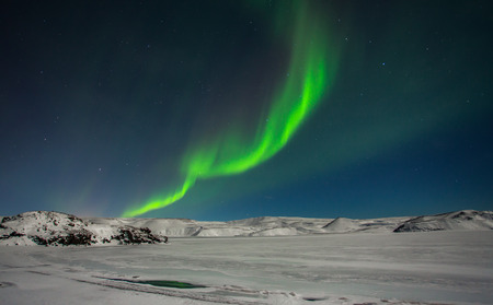 Northern lights seen from Reykjanes peninsula in Iceland.