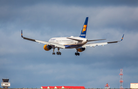 Iceland - March 23, 2015 : An Icelandair plane approaching KEF International Airport in Iceland
