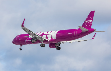 Keflavik, Iceland - March 30, 2015 : Airbus A321 from WOW air approaching KEF airport, Iceland Editorial