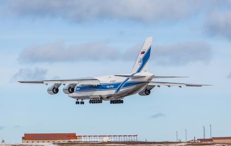 Keflavik, Iceland - March 30, 2015 - Antonov AH 124 100 cargo plane approaching KEF airport, Iceland