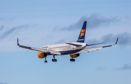 Keflavik, Iceland - March 30, 2015 - Boeing 757 200 from Icelandair approaching KEF airport, Iceland