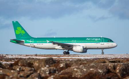 Keflavik, Iceland - March 30, 2015 : Airbus A320 from Aer Lingus at KEF airport, Iceland Editorial