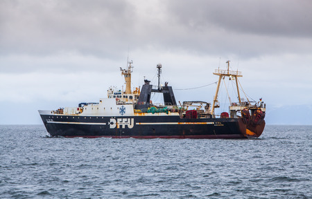 Iceland  May 14, 2015 : Old German factory trawler in Icelandic waters.