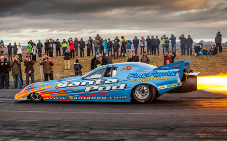 Iceland - June 7, 2015 : Fire Fox 3 funny jet car at drag racing event in Iceland. Editorial