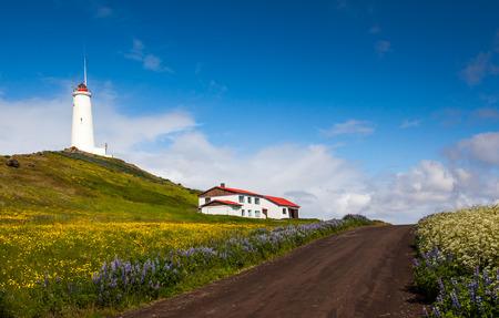 Image of the Reykjanes lighthouse at Reykjanes peninsula in Iceland. Stock Photo