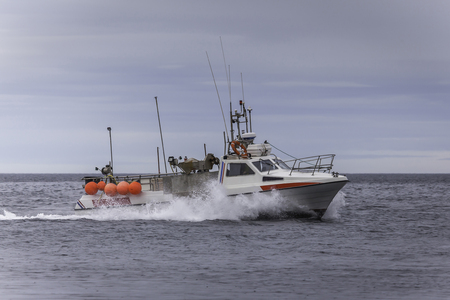 High speed commercial fishing boat. Stock Photo