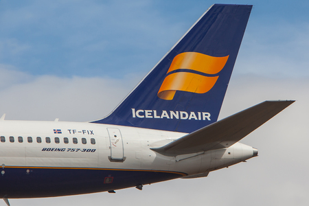 Iceland - June 10, 2017 : Icelandair logo on a tail of an Boeing 757-300 aircraft.