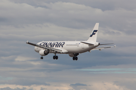 Iceland - June 10, 2017 : Airbus A321 from Finnair approaches KEF international airport in Iceland