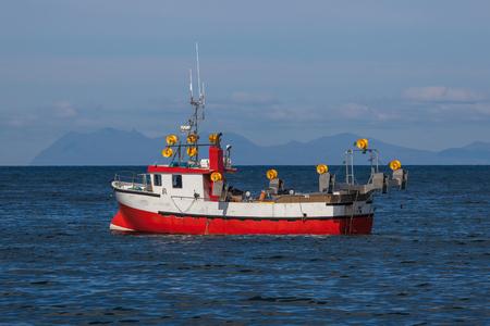 Mackerel fishing boat near southwest coast of Iceland
