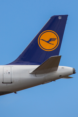 Lufthansa logo on aircraft tail.