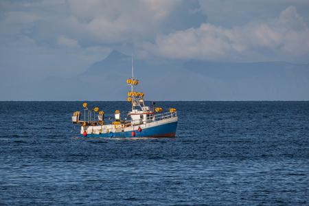Iceland - August 11, 2017 : Commercial fishing boat 1511 Ragnar Alfreðs GK-183 at mackerel fishing in Icelandic waters.