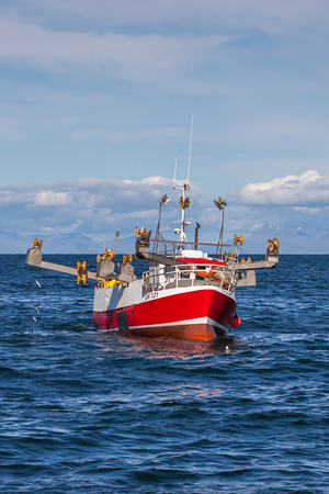 Iceland - August 11, 2017 : Commercial fishing boat1516 Fjóla GK-121 at mackerel fishing in Icelandic waters. Editorial