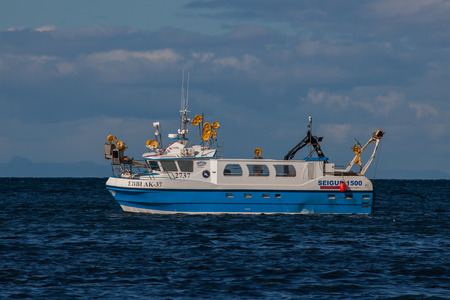 Iceland - August 11, 2017 : Commercial fishing boat 2737 Ebbi AK-37 at mackerel fishing in Icelandic waters. Editorial