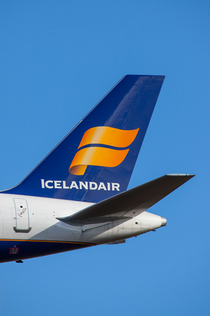 Iceland - September 28, 2017 : Icelandair logo on a tail of an Boeing 757-200 aircraft.