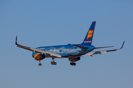 Iceland - September 28, 2017 : Boeing 757-200 from Icelandair approaches KEF international airport in Iceland