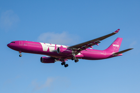 Iceland - September 28, 2017 : Airbus A330-300 from WOW Air approaches KEF international airport in Iceland