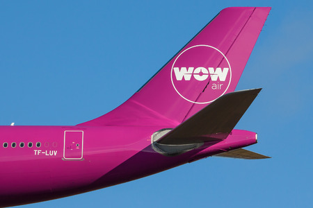 Iceland - September 28, 2017 : WOW Air logo on a tail of an Airbus aircraft. Editorial