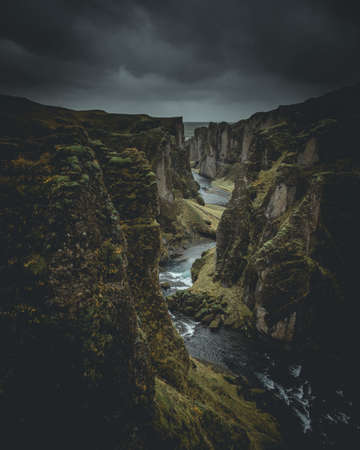 Famous Fjadrargljufur canyon in Iceland. Top tourism destination. South East of Iceland, Europe