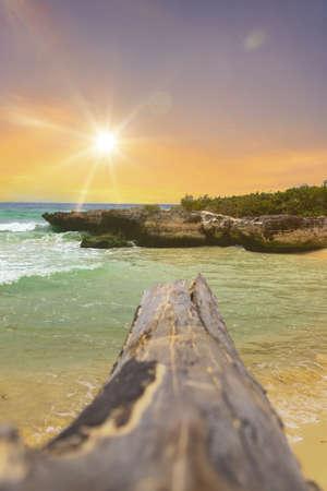 Beautiful waves at the coast in Yucatan