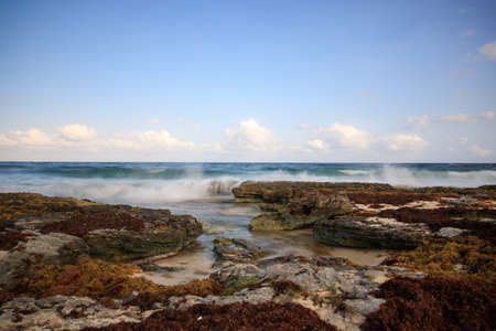 a long exposure of the sea in Mexico 版權商用圖片