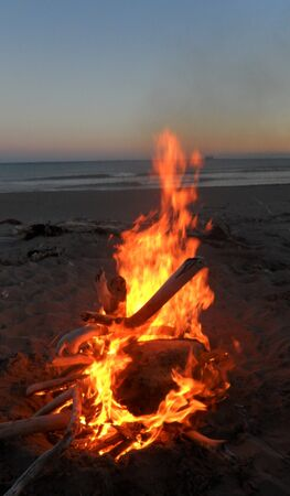 Wood camp fire on the beach, big red flame on the ocean.