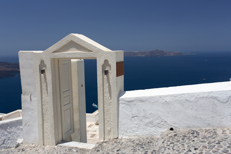 archway: Santorini Island Santorini Island - archway to sea Stock Photo